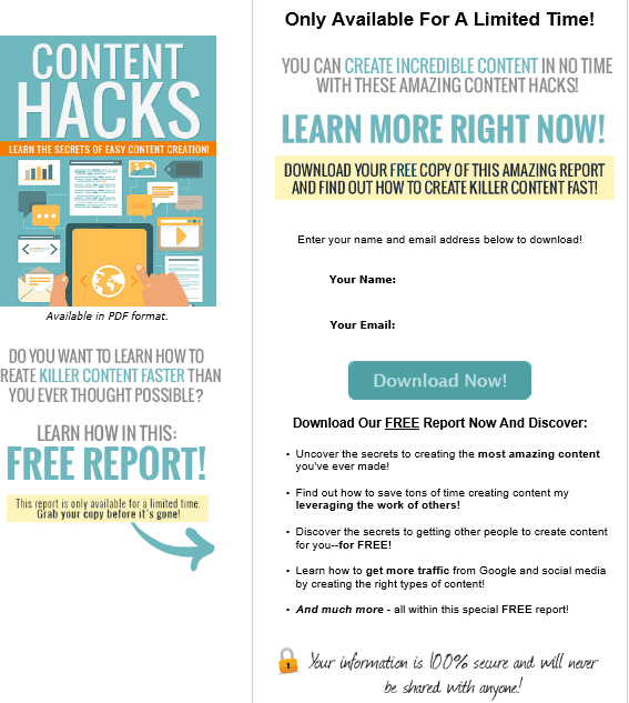 Content Hacks PLR Lead Magnet Kit Squeeze Page