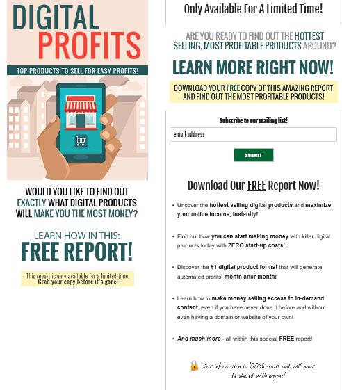Digital Profits PLR Squeeze Page