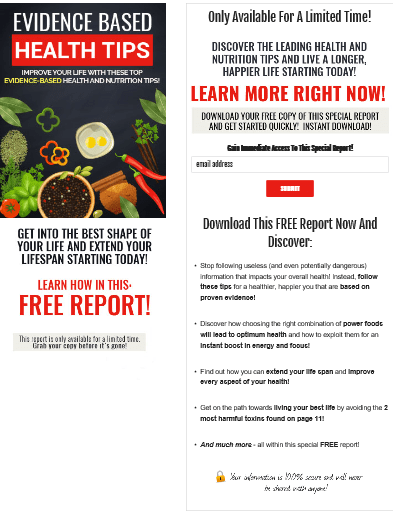 Evidence Based Health Tips PLR Squeeze Page