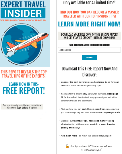 Expert Travel Insider PLR Squeeze Page