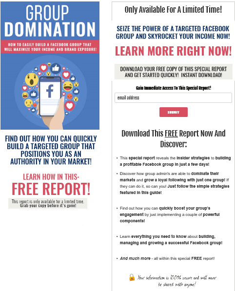 Facebook Group Domination PLR Squeeze Page