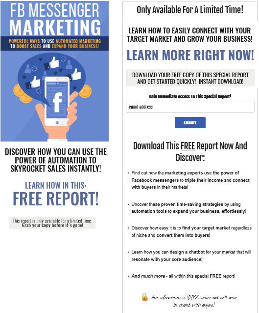 Facebook Messenger Marketing PLR Squeeze Page