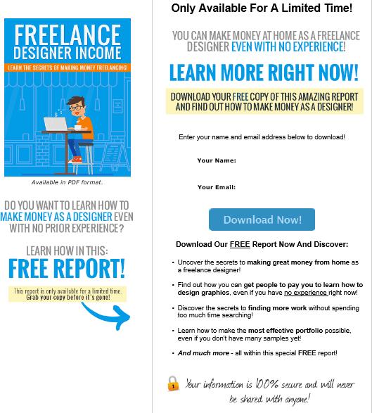 Freelance Designer Income PLR Squeeze Page