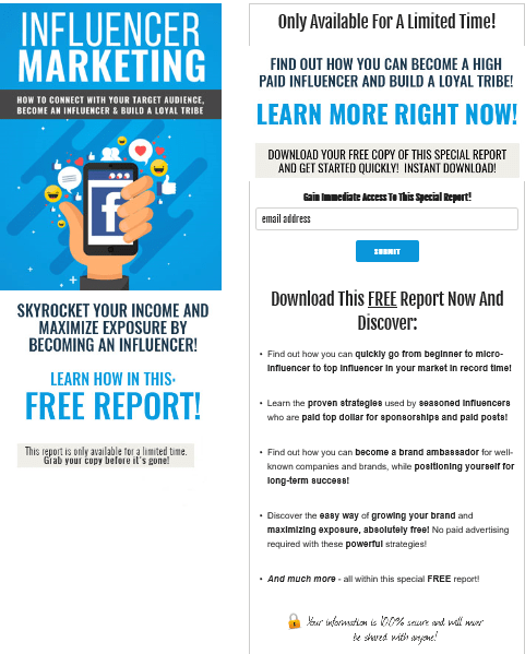 Influencer Marketing PLR Squeeze Page