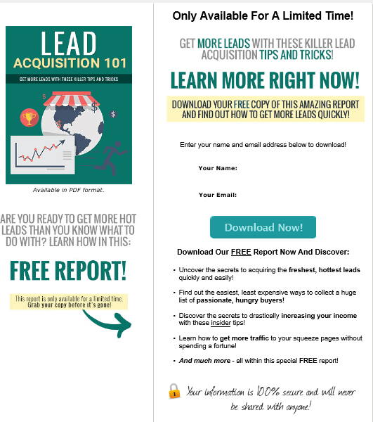 Lead Acquisition 101 PLR Squeeze Page