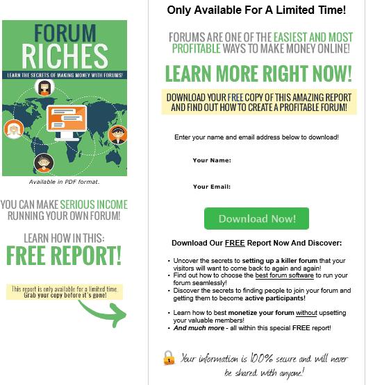 Forum Riches PLR Squeeze Page