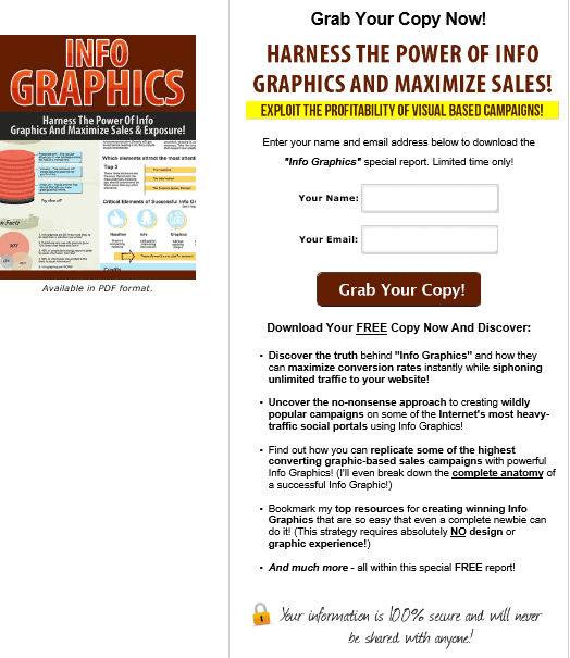 Info Graphics PLR Squeeze Page
