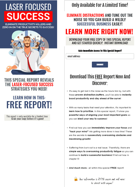 Laser Focused Business PLR Squeeze Page