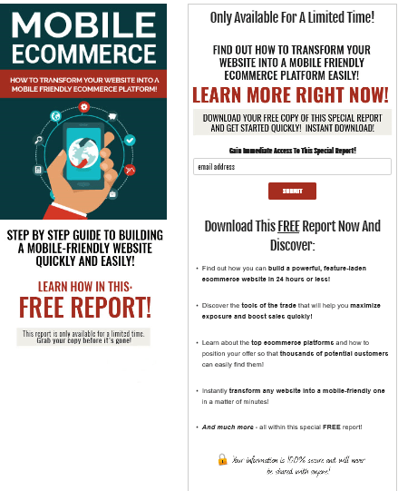 Mobile Ecommerce PLR Squeeze Page