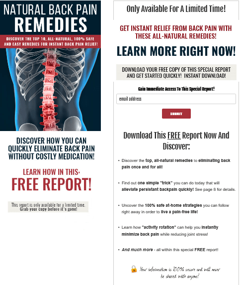 Natural Back Pain Remedies PLR Squeeze Page