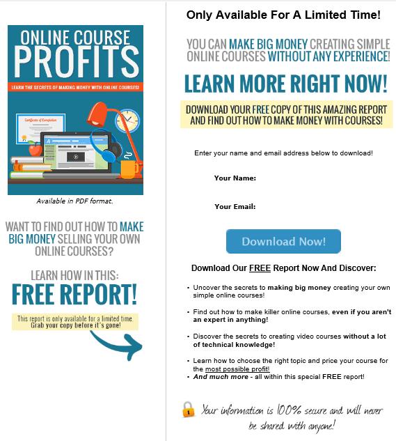 Online Course Profits PLR Squeeze Page