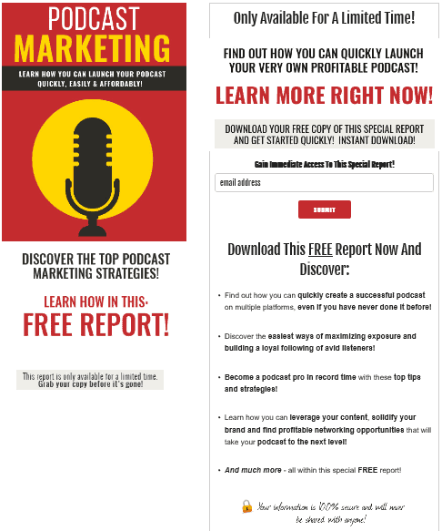 Podcast Marketing PLR Squeeze Page