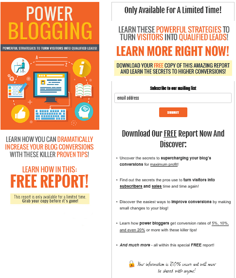 Power Blogging PLR Squeeze Page