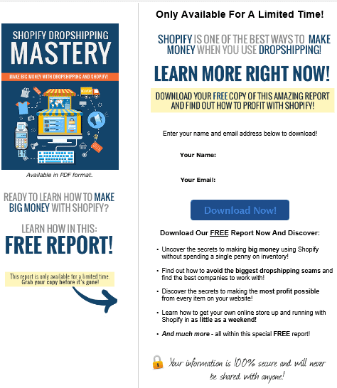 Shopify Dropshipping Mastery PLR Squeeze Page