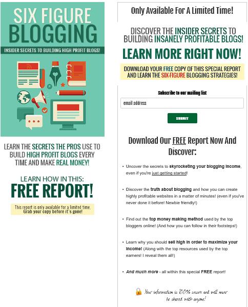 Six Figure Blogging PLR Squeeze Page