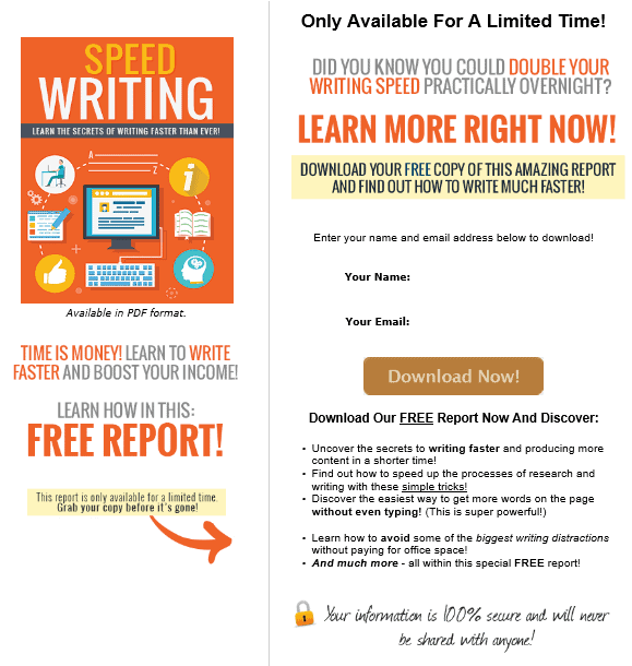 Speed Writing PLR Squeeze Page