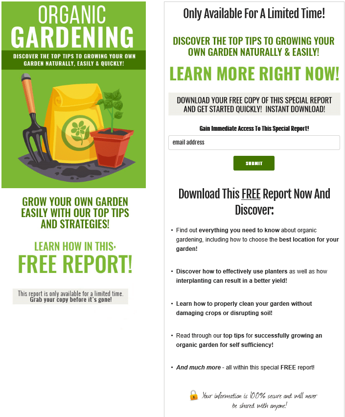 Organic Gardening 101 PLR Squeeze Page