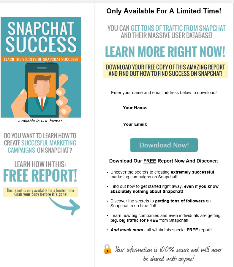 Snapchat Success PLR Squeeze Page