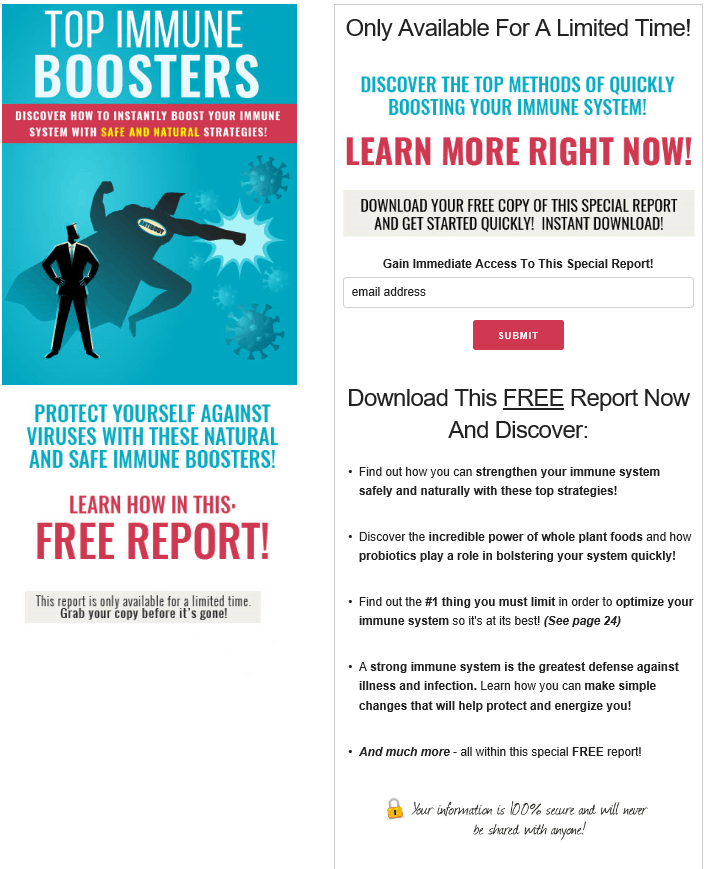 Top Immune Boosters PLR Squeeze Page