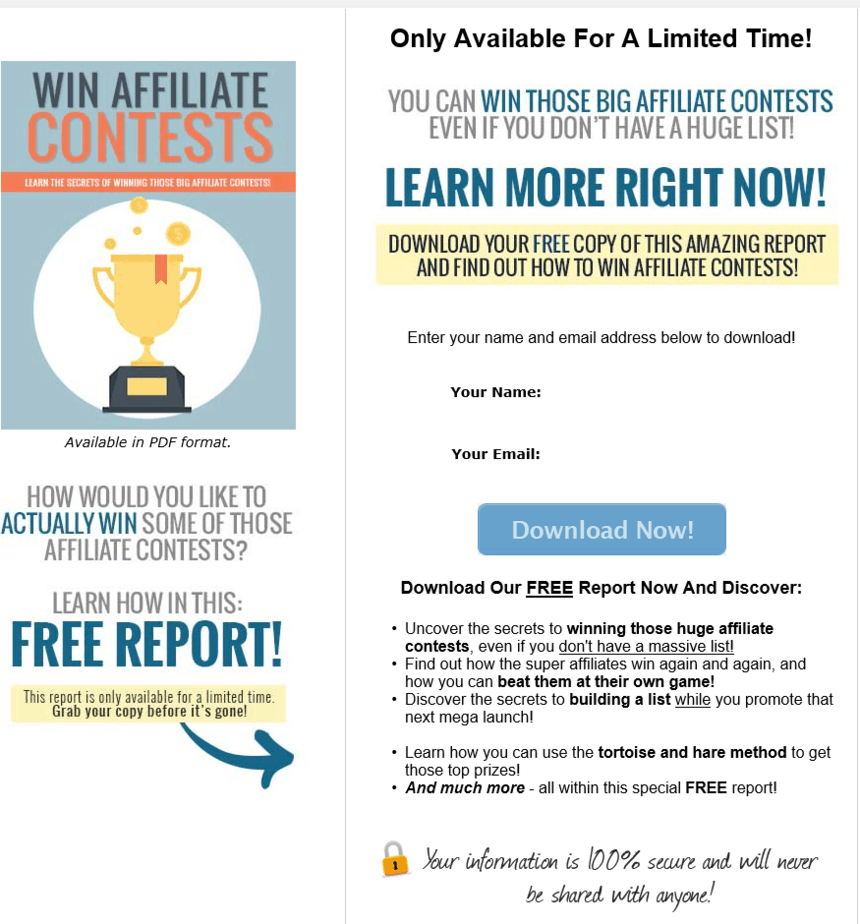 Win Affiliate Contests PLR Squeeze Page