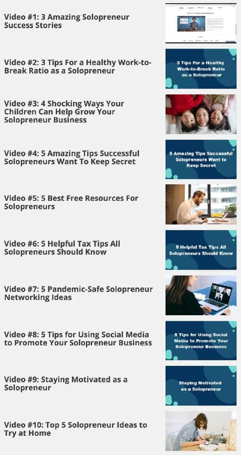 Solopreneur Success Videos