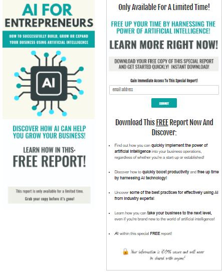 AI for Entrepreneurs PLR Squeeze Page