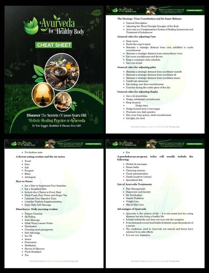 Ayurveda For Healthy Body PLR Cheat Sheet Screenshot