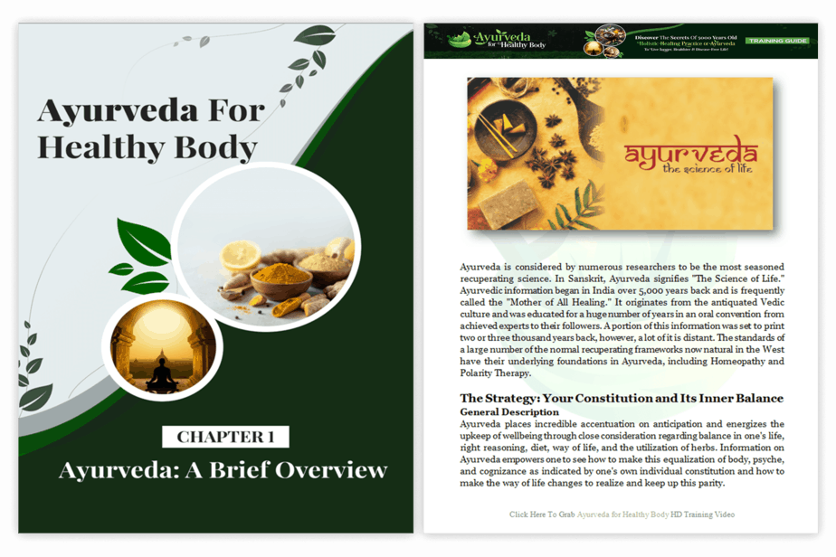 Ayurveda For Healthy Body PLR Training Guide Overview