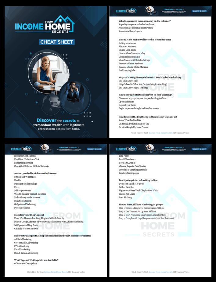 Income from Home Secrets PLR Sales Funnel Cheatsheet Screenshot