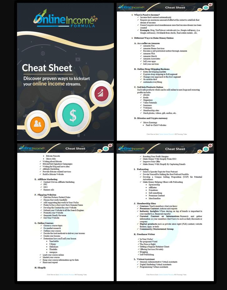 Online Income Formula PLR Sales Funnel Cheatsheet Screenshot