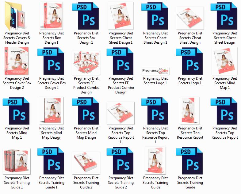Pregnancy Diet Secrets PLR Sales Funnel Professional Graphics
