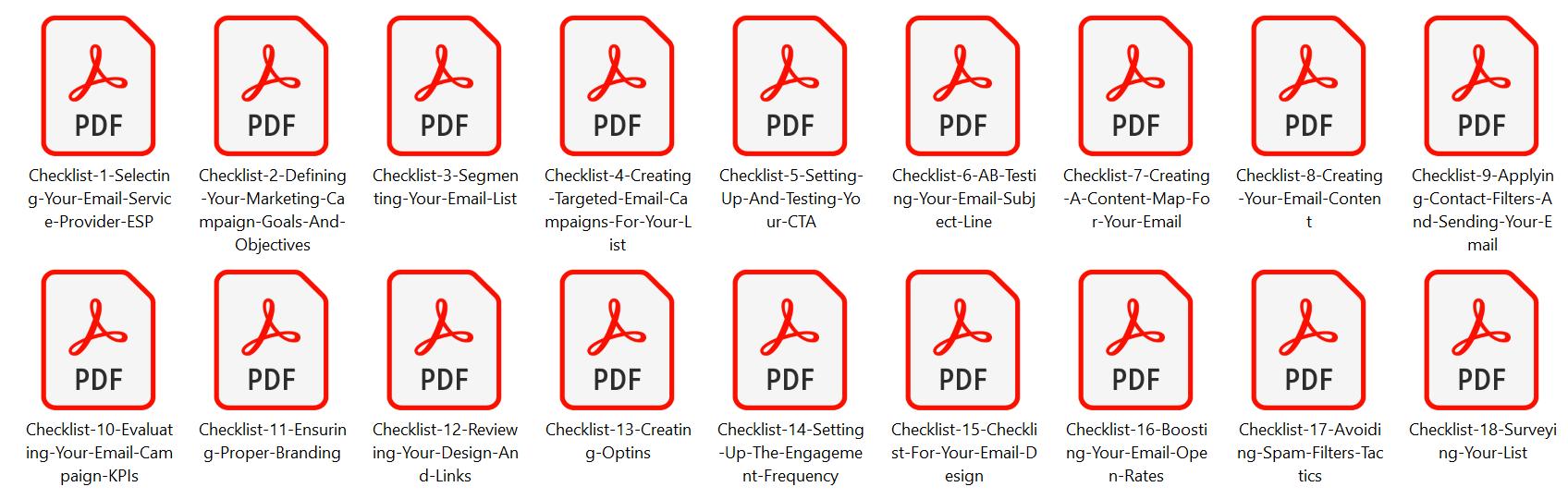 Internet Marketing Checklists List Engagement Screenshot